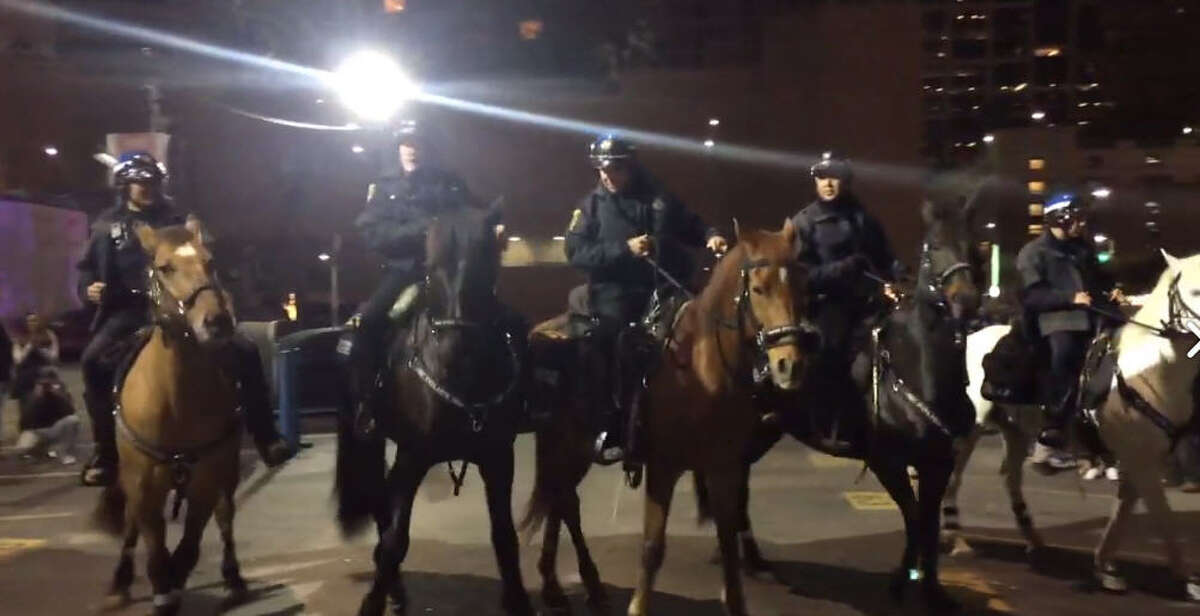 The mounted patrol from the Houston Police Department had a good time during Super Bowl week. The mounted patrol of the Houston Police Department had a good time during Super Bowl week. Horses and riders took part in pictures and, most notably, dancing.