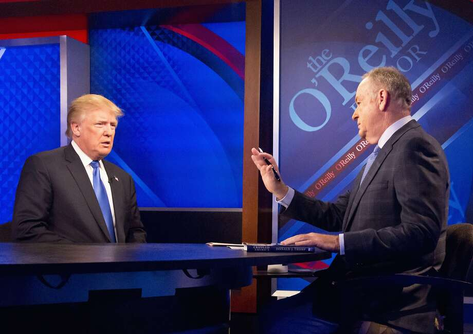 "Republican presidential candidate Donald Trump is interviewed by Bill O'Reilly, durign the Fox news talk show ""The O'Reilly Factor,"" Friday, Nov. 6, 2015, in New York.Click through this slideshow to read more about President Trump's first 100 days in office. Photo: Bebeto Matthews, Associated Press"