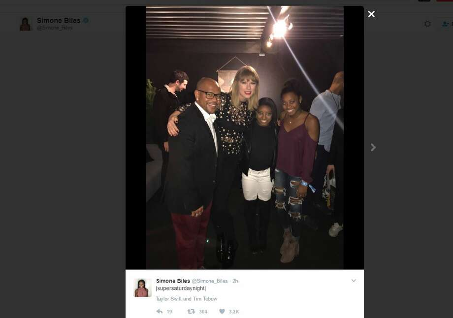 Simone Biles posed with several celebrities during Super Bowl 51 weekend, including Taylor Swift.>>Click to see other celebs spotted with the pint-size athlete, along with others seen around Houston during Super Bowl 51. Photo: Simone Biles/Twitter