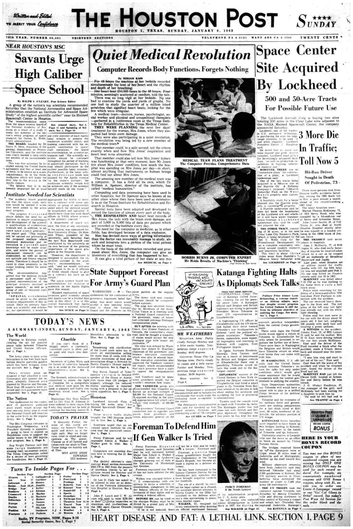 Houston Post front page (HISTORIC) - January 6, 1963 - section 1, page 1. Quiet Medical Revolution. Computer records Body Functions, Forgets Nothing (Texas Institute for Rehabilitation and Research)