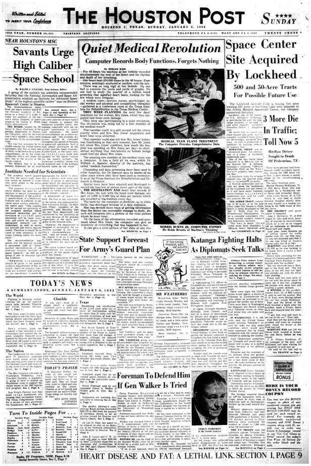 Houston Post front page (HISTORIC) - January 6, 1963 - section 1, page 1.  Quiet Medical Revolution.  Computer records Body Functions, Forgets Nothing (Texas Institute for Rehabilitation and Research) / Houston Chronicle