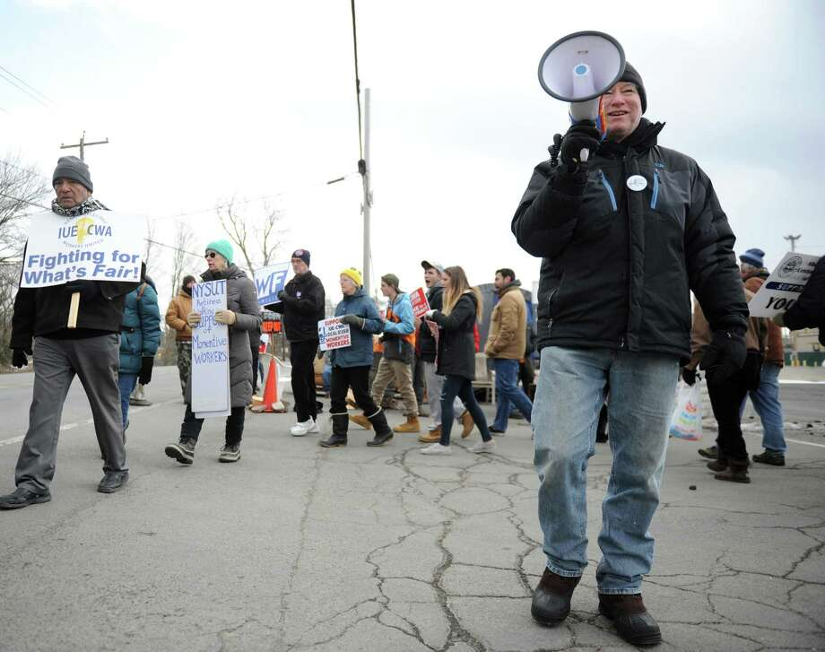 Local Green Party member Michael Tracy-Ireland leads strikers at Momentive Performance Chemicals Feb. 4, 2017 in Waterford, N.Y. Employees at the chemical plant have been on strike since November, and were joined Saturday by friends and family in a show of solidarity. (Robert Downen / Times Union)