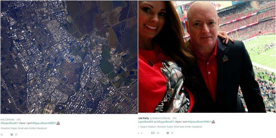 Astronaut Scott Kelly shares his view of Super Bowl 50 at Levi's Stadium last year to his view, this year, at NRG for Super Bowl 51.>Click to see Kelly's shot of Super Bowl 50, as well as several stadiums, from his view in space.