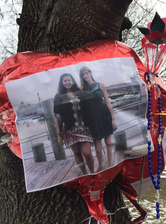 A photo taped to a balloon at the memorial for Rajine Martinez, who was killed in a hit-and-run accident in Washington Park Saturday, Feb. 4, 2017 in Albany. (Amanda Fries/Times Union)