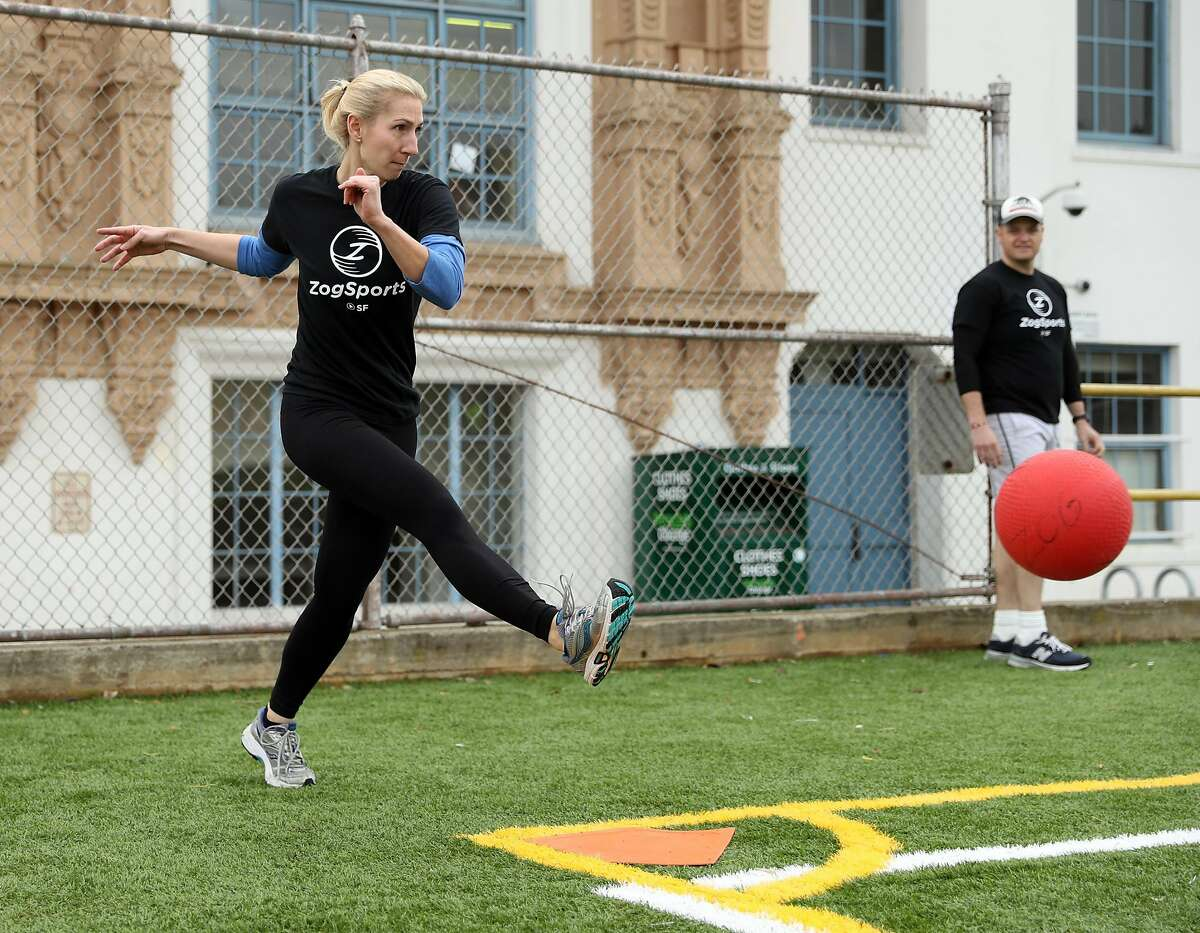 Andrea Vuturo during a weekly co-ed kickball game organized by The League dating app in San Francisco, Calif., on Sunday, February 5, 2017.