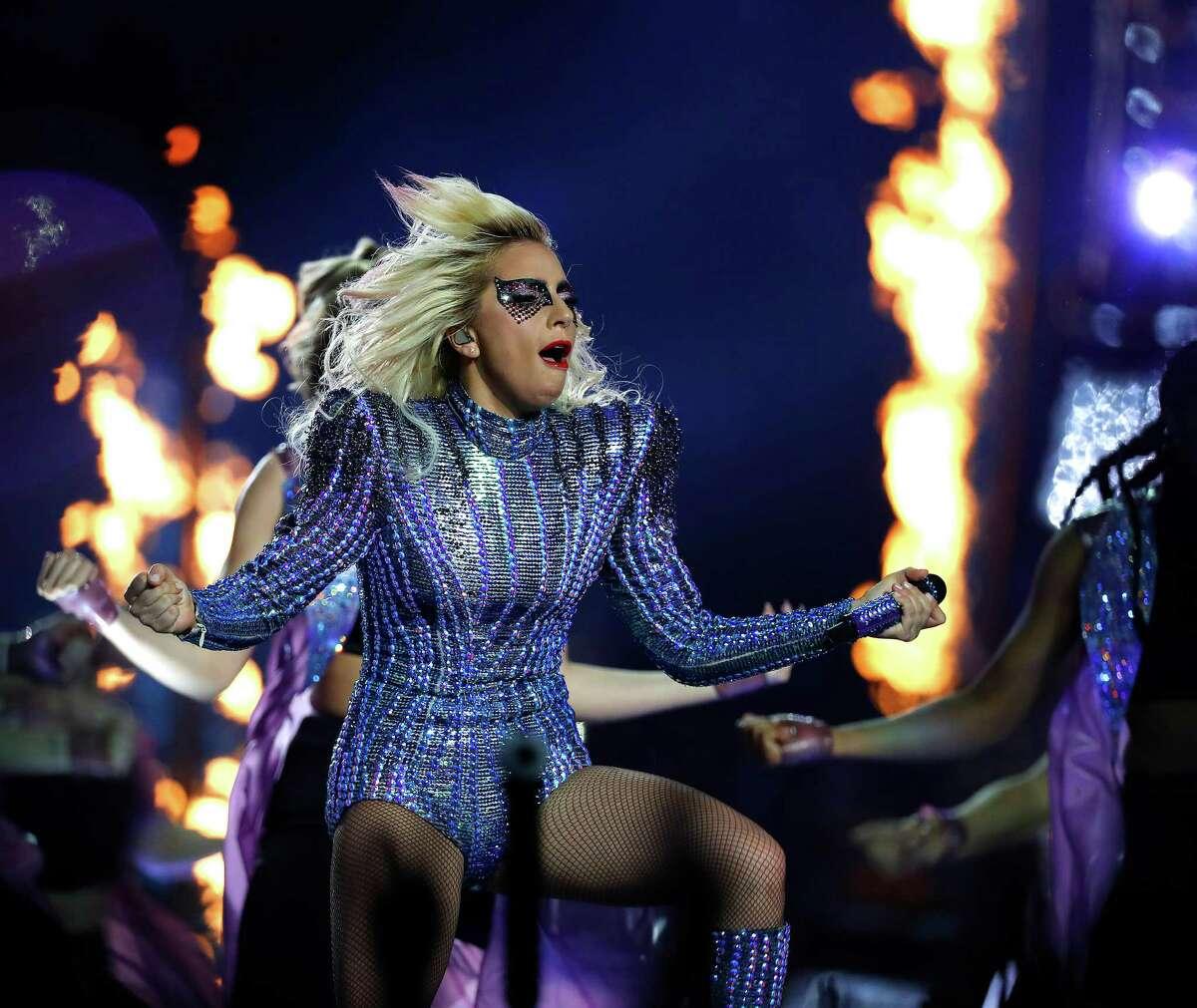 Lady Gaga performs during halftime of Super Bowl LI at NRG Stadium on Sunday, February 5, 2017.