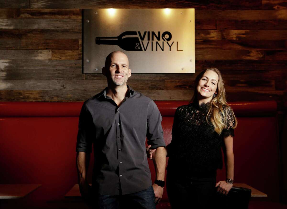 Paul and Nichole Killingsworth own Vino & Vinyl, a Sugar Land Town Square wine bar that doubles as a record store.