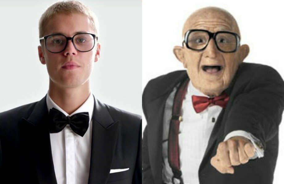 justin bieber dancing old man in six flags ads separated at birth