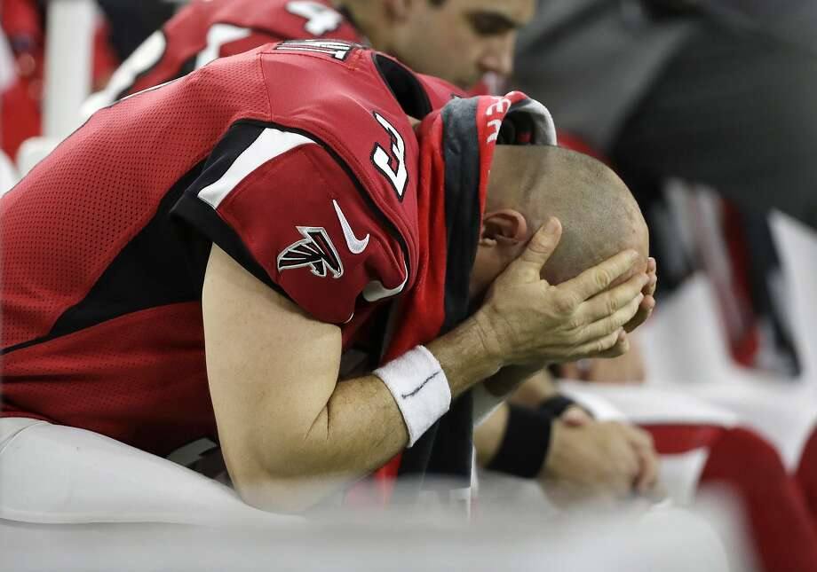 Atlanta Falcons' Matt Bryant reacts on the bench during the first half of the NFL Super Bowl 51 football game against the New England Patriots, Sunday, Feb. 5, 2017, in Houston. (AP Photo/Mark Humphrey) Photo: Mark Humphrey, Associated Press