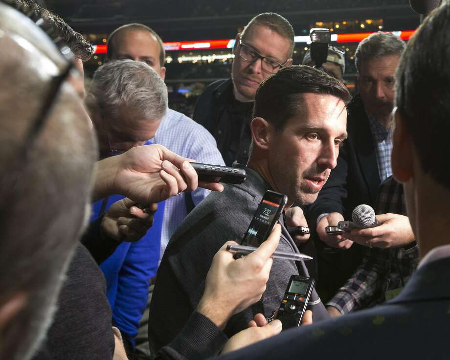 Atlanta Falcons offensive coordinator Kyle Shanahan is surrounded by reporters during Super Bowl LI Opening Night at Minute Maid Park on Monday, Jan. 30, 2017, in Houston. ( Brett Coomer / Houston Chronicle ) Photo: Brett Coomer, Houston Chronicle