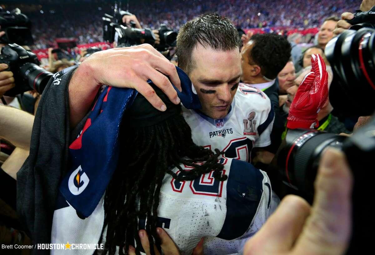 New England Patriots quarterback Tom Brady celebrates with teammates after the Patriots defeated the Atlanta Falcons in Super Bowl LI at NRG Stadium on Sunday, Feb. 5, 2017, in Houston. ( Brett Coomer / Houston Chronicle )