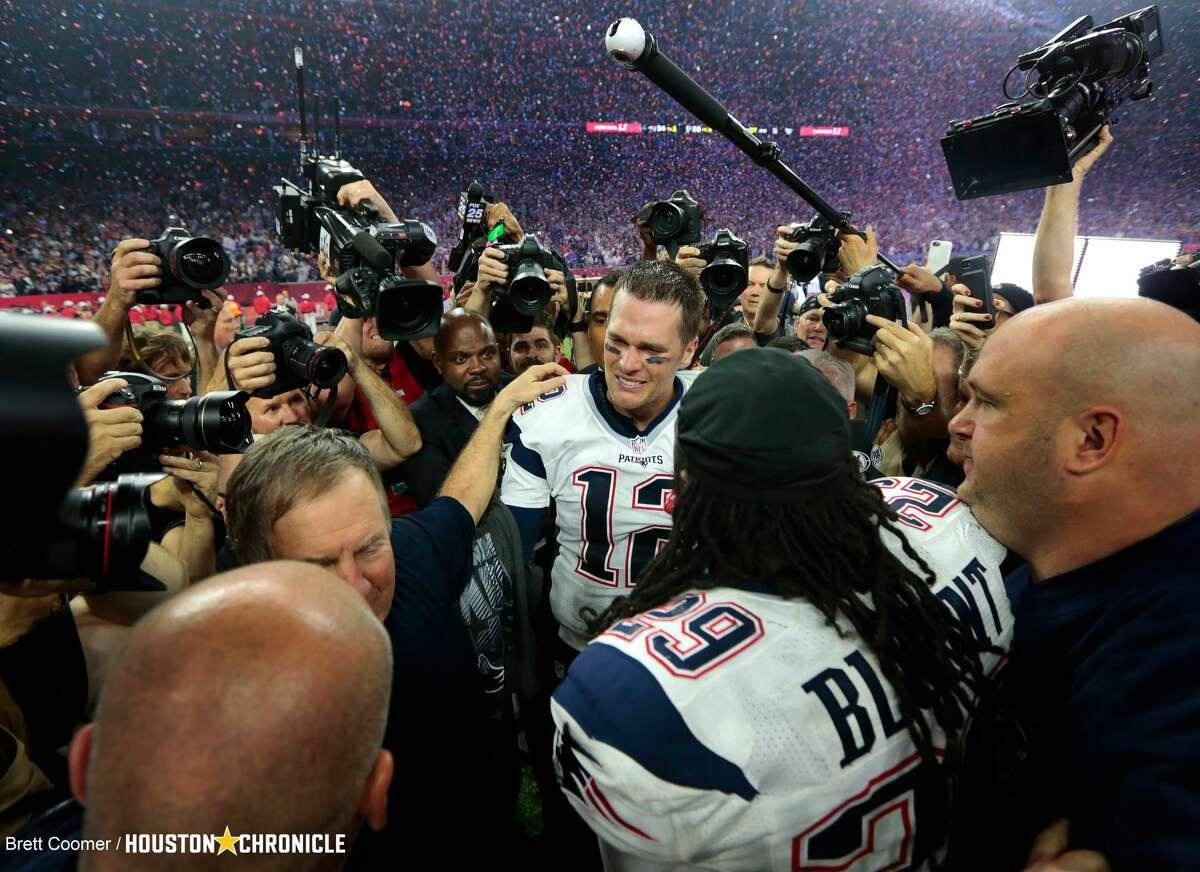 New England Patriots quarterback Tom Brady on the field after the Patriots defeating the Atlanta Falcons in Super Bowl LI at NRG Stadium on Sunday, Feb. 5, 2017, in Houston. ( Brett Coomer / Houston Chronicle )