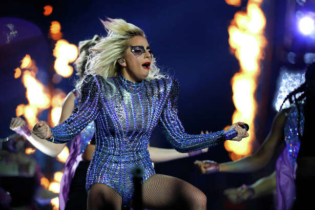 Lady Gaga performs during halftime of Super Bowl LI at NRG Stadium on Sunday, February 5, 2017. ( Karen Warren / Houston Chronicle )