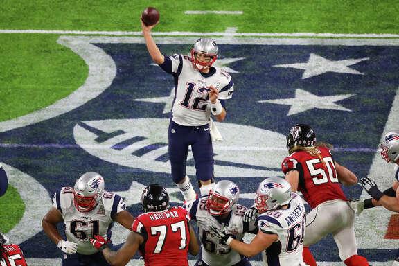 New England Patriots quarterback Tom Brady throws a pass during the second quarter of Super Bowl LI at NRG Stadium on Sunday, Feb. 5, 2017, in Houston. ( Jon Shapley / Houston Chronicle )