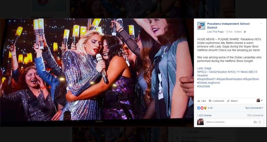 Dobie High School dancer Ally Bellini is walking on air today after she shared a hug with Lady Gaga during the Super Bowl halftime show on Sunday, Feb. 5. SOCIAL MEDIA REACTIONS: Keep clicking to see how the world responded to Lady Gaga's halftime show. Photo: Facebook/Pasadena ISD