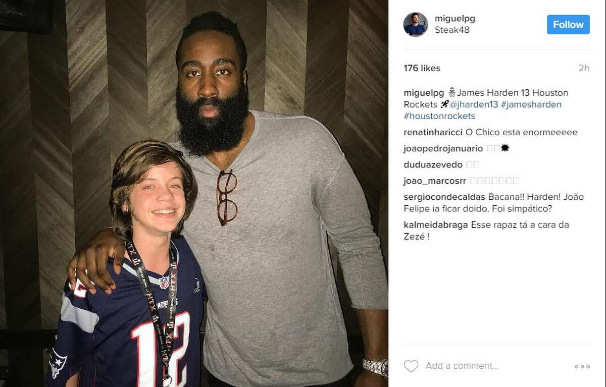 A fan posted this picture with James Harden at Steak 48 in River Oaks District.