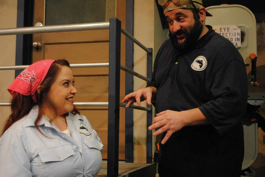"""Sarah Hamilton and John Boyd play employees of a failing fish packing plant in the Sheldon Vexler Theatre's staging of """"North Shore Fish."""" Photo: Courtesy Sheldon Vexler Theatre"""