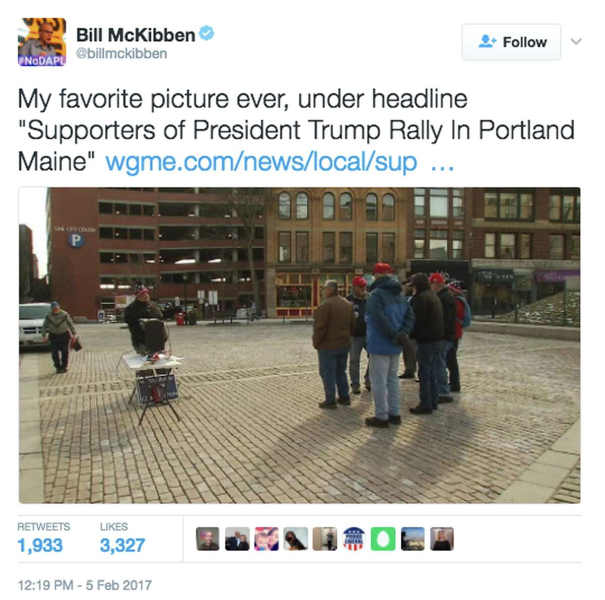 Twitter reacts to WGME-TV's coverage of Trump rally in Portland, Maine on Feb. 4, 2017. (@BillMcKibben)