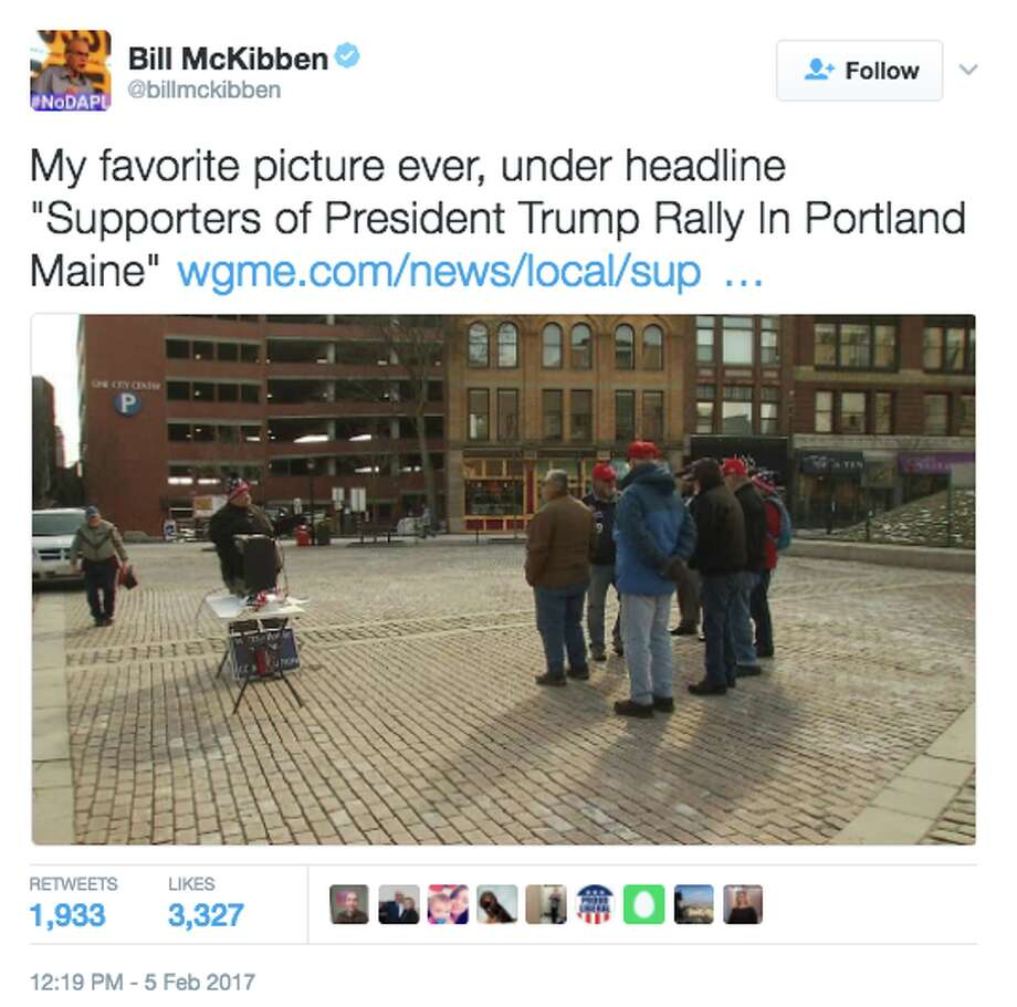 Twitter reacts to WGME-TV's coverage of Trump rally in Portland, Maine on Feb. 4, 2017. (@BillMcKibben) Photo: Twitter Screen Grab