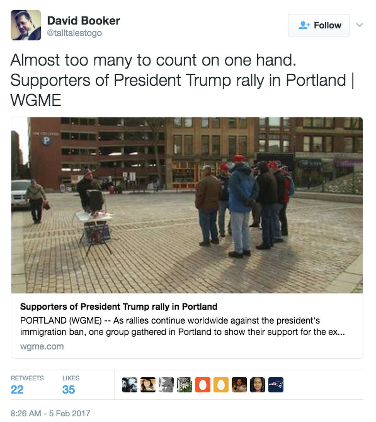 Twitter reacts to WGME-TV's coverage of Trump rally in Portland, Maine on Feb. 4, 2017. (@talltalestogo)