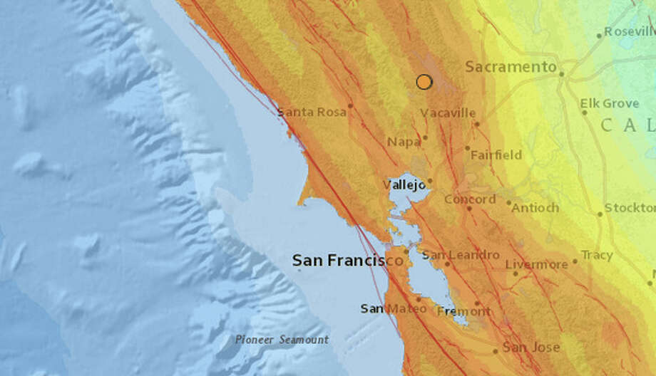 Two magnitude  3.2 earthquakes struck near Angwin in Napa County on Monday morning, February 6, 2017 at 6:02 and 6:08 AM. Photo: USGS