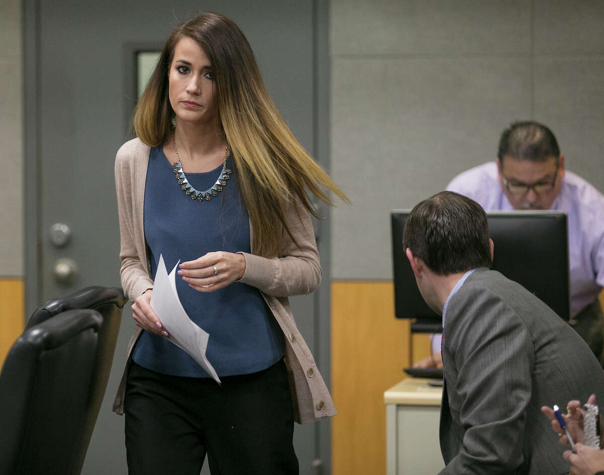 Former Westlake High School teacher Haeli Wey pleaded guilty to two counts of an improper relationship with students in an agreement with prosecutors at her prearranged court date Friday morning in Judge P. David Wahlberg's 167th District Court February 3, 2017. She is scheduled to return March 10 for official sentencing.