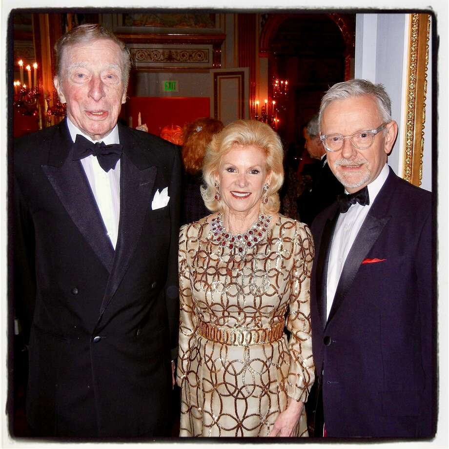 The late Dolph Andrews (left) celebrates the reopening of the Salon Dore with FAM Board chairwoman Dede Wilsey and FAM curator Martin Chapman at the Legion of Honon in April 2014. Photo: Catherine Bigelow, Special To The Chronicle