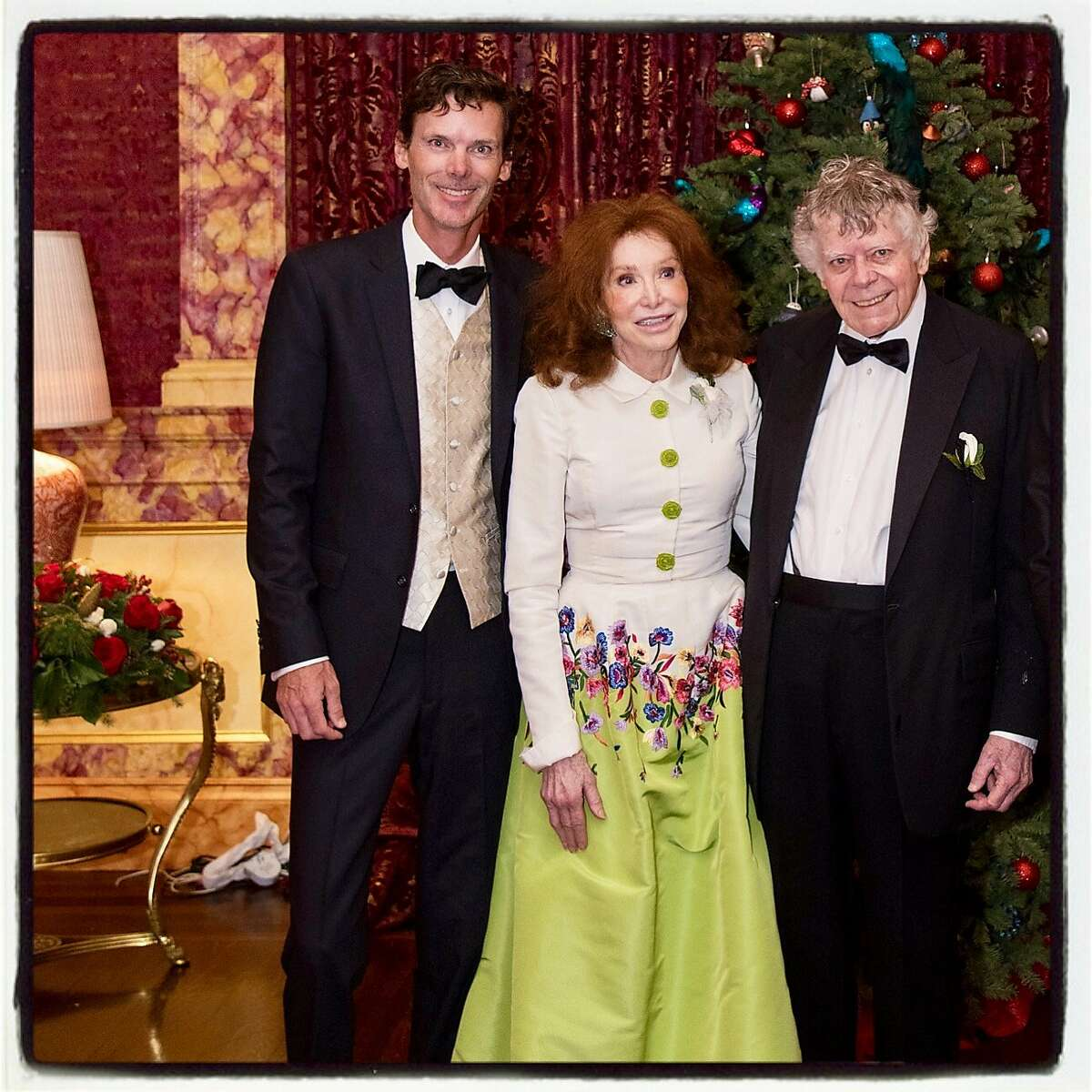 Bill Getty (left with his parents, Ann and Gordon Getty celebrate the wedding of Shannon and Peter Getty. Dec 2016