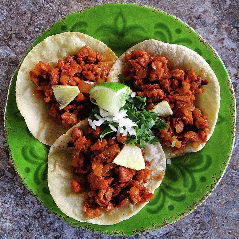 Week 6 Taco of the Week: Tacos al pastor on handmade corn tortillas from Paloma Blanca on Broadway. Photo: Mike Sutter /San Antonio Express-News