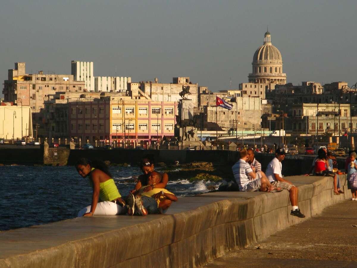 The waterfront Malecon in Havana, Cuba.