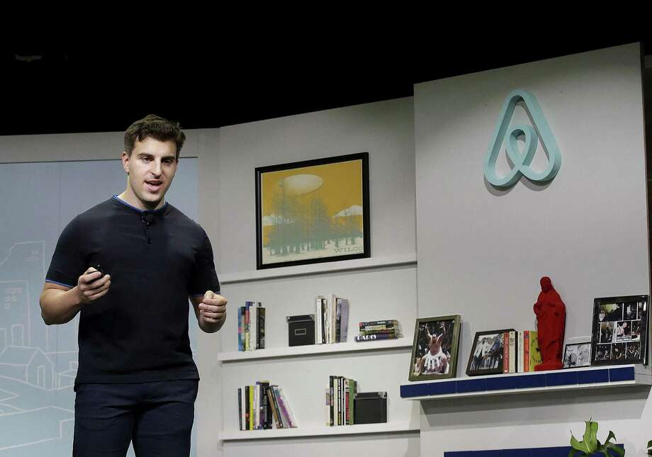 Airbnb co-founder and CEO Brian Chesky speaks during an event in San Francisco. Airbnb is following up its Super Bowl ad calling for acceptance with a campaign to provide short-term housing over the next five years for 100,000 people in need. Photo: Associated Press /File Photo / Copyright 2016 The Associated Press. All rights reserved. This material may not be published, broadcast, rewritten or redistribu