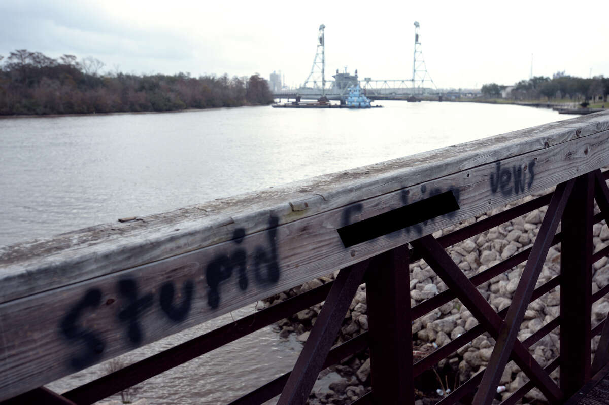 Anti-Semitic graffiti found Monday on a footbridge at Riverfront Park in Beaumont on. This photo has been altered due to vulgarity. Photo taken Monday, February 06, 2016 Guiseppe Barranco/The Enterprise