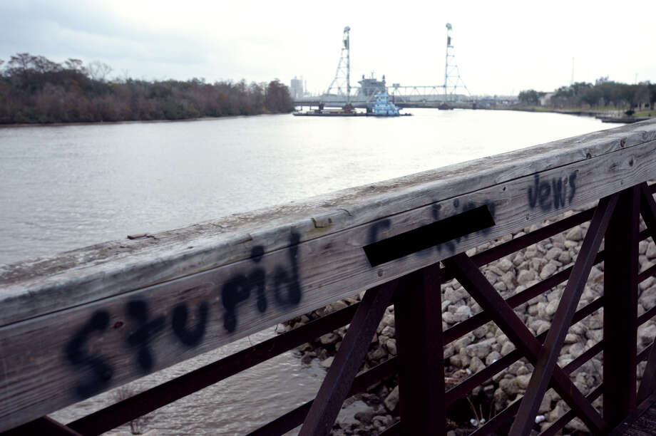 Anti-Semitic graffiti found Monday on a footbridge at Riverfront Park in Beaumont on.  This photo has been altered due to vulgarity. Photo taken Monday, February 06, 2016 Guiseppe Barranco/The Enterprise Photo: Guiseppe Barranco, Photo Editor