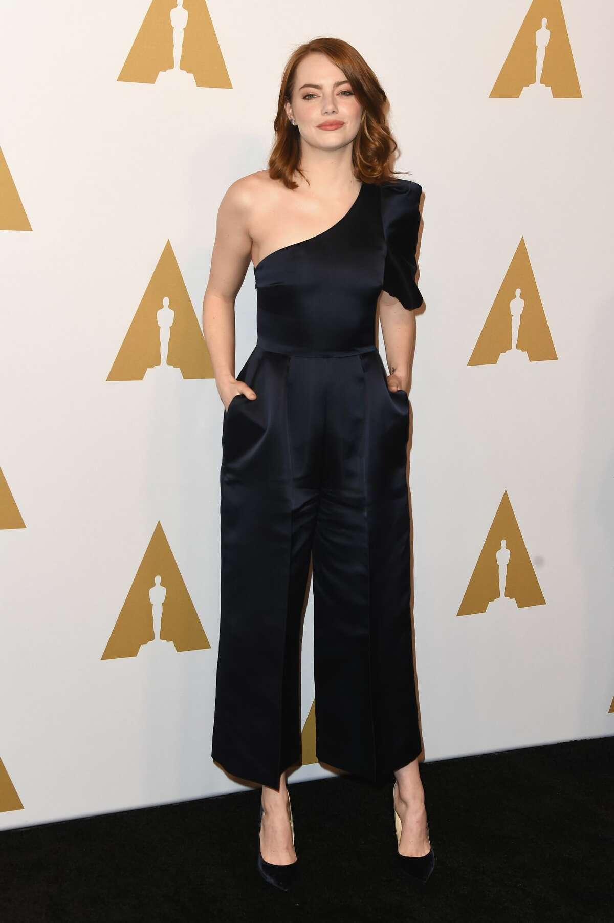 """Emma Stone Best: Stone arrives in a jumpsuit that pushes the """"daytime wear"""" envelope. Either way, the look was not a mistake."""