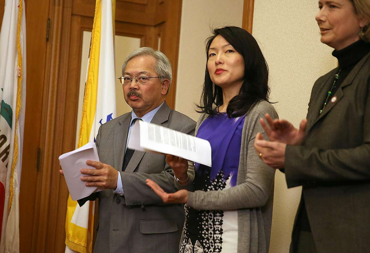 Mayor Edwin Lee, supervisor Jane Kim and City College 0f San Francisco acting chancellor Susan Lamb announce that starting next school year City College of San Francisco will be accessible for all California residents taking courses for credit on Monday, February 6, 2017, at city hall in San Francisco, Calif.