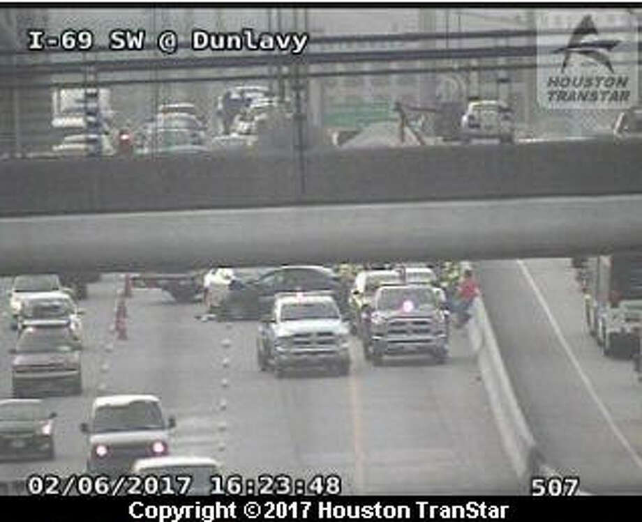 A Houston TranStar camera shows a crash on the Southwest Freeway inbound about 4:30 p.m. Monday, Feb. 6, 2017.