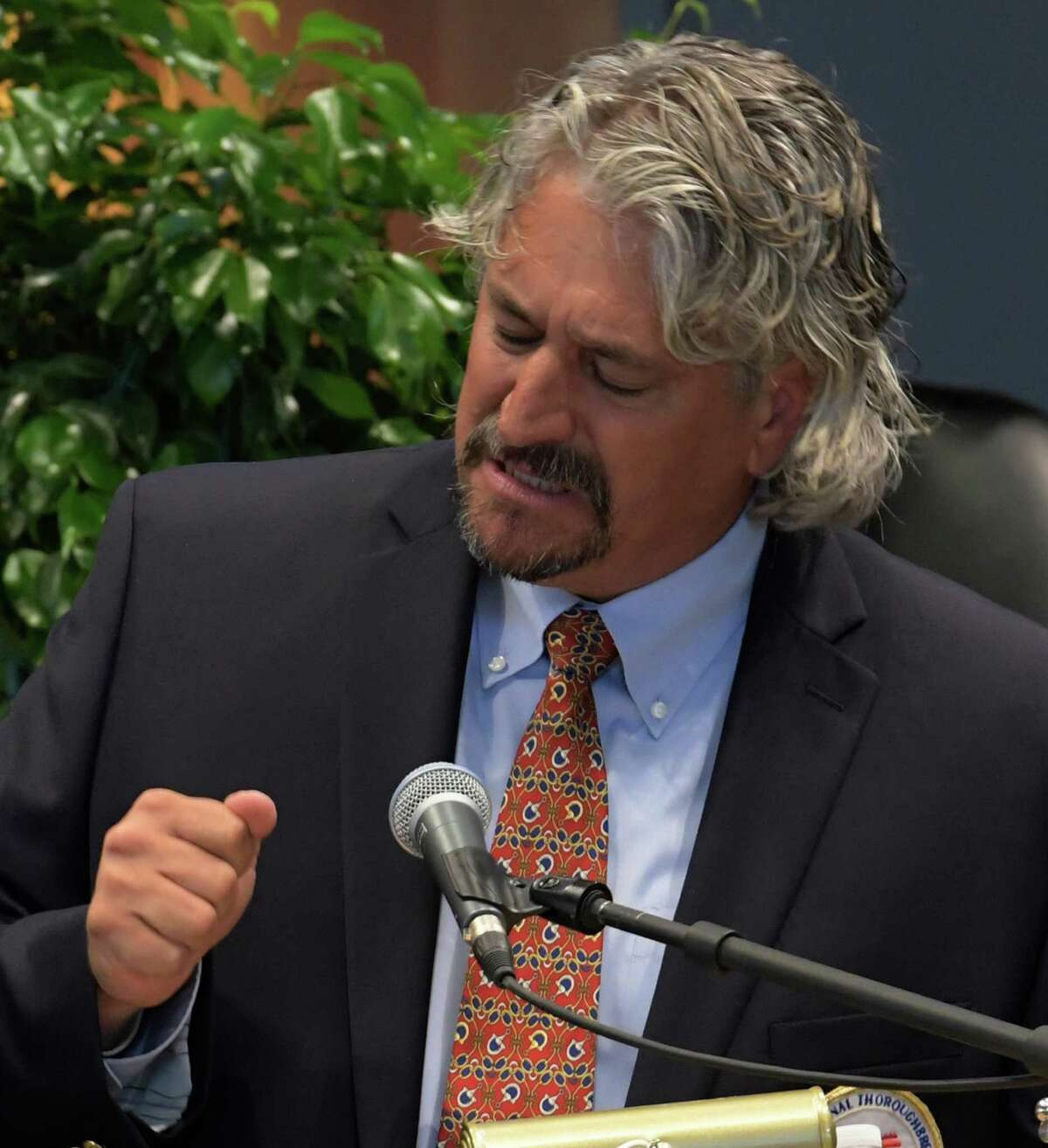 Trainer Steve Asmussen gives his acceptance speech as his family watches at the the National Museum of Racing and Hall of Fame inductions at the Fasig-Tipton sales pavilion Friday Aug. 12, 2016 in Saratoga Springs, N.Y. (Skip Dickstein/Times Union)