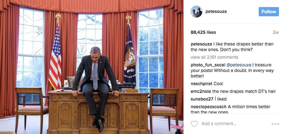 """I like these drapes better than the new ones. Don't you think?""The caption is a reference to President Trump changing the red curtains to gold ones. Photo: Pete Souza Via Instagram"