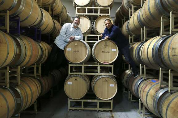 Red Stitch winemakers Rich Aurilia and Dave Roberts are seen after a tasting at the Mi Sue�o Winery in Napa, Calif. on Saturday, Feb. 4, 2017. Former Giants players Rich Aurilia and Dave Roberts (currently the manager of the Los Angeles Dodgers) teamed-up with friend John Micek and winemaker Rolando Herrera for their winemaking project.