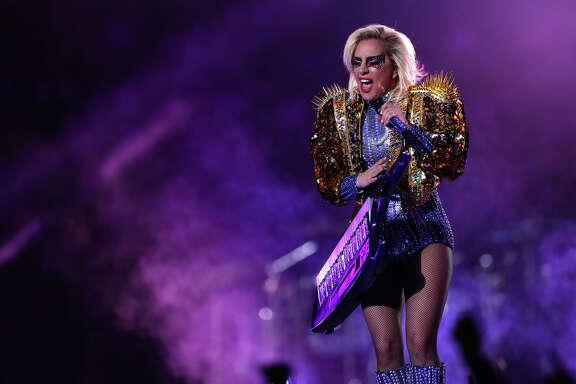 Lady Gaga performs during halftime of Super Bowl LI at NRG Stadium on Sunday, Feb. 5, 2017, in Houston. ( Brett Coomer / Houston Chronicle )