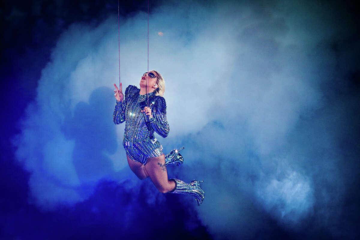 Lady Gaga performs at Super Bowl LI at NRG Stadium on Sunday, Feb. 5, 2017 in Houston. ( Michael Ciaglo / Houston Chronicle )