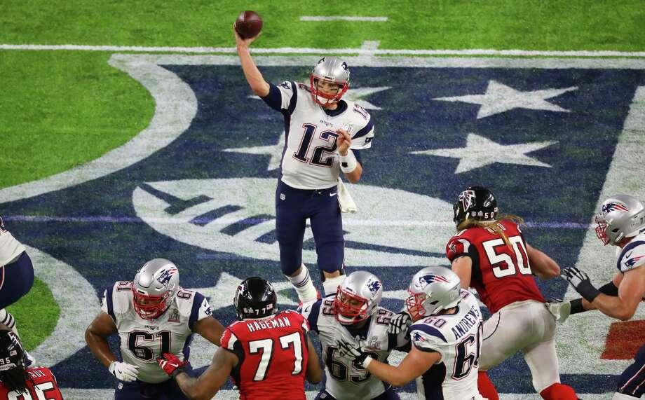 New England Patriots quarterback Tom Brady throws a pass during the second quarter of Super Bowl LI at NRG Stadium on Sunday, Feb. 5, 2017, in Houston. Photo: Jon Shapley /Houston Chronicle / © 2017  Houston Chronicle
