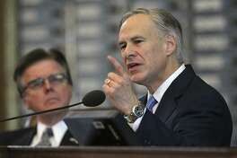 Governor Greg Abbott delivers his State of the State address before a joint session of the Legislature last week. He urged action on a number of fronts, including education.