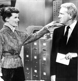 Katherine Hepburn and Spencer Tracy work in the same office in the movie 'Desk Set'