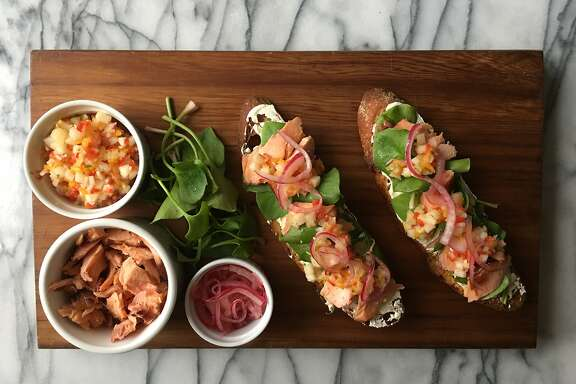 Open-faced Smoked Salmon Sandwiches with Asian Pear & Kumquat Relish