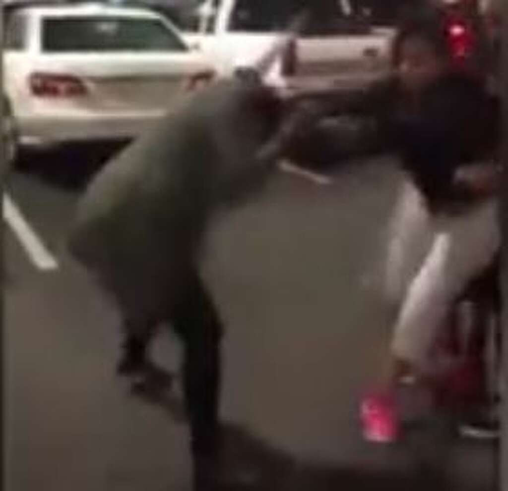 graphic video millions watch s a h e b parking spot brawl caught