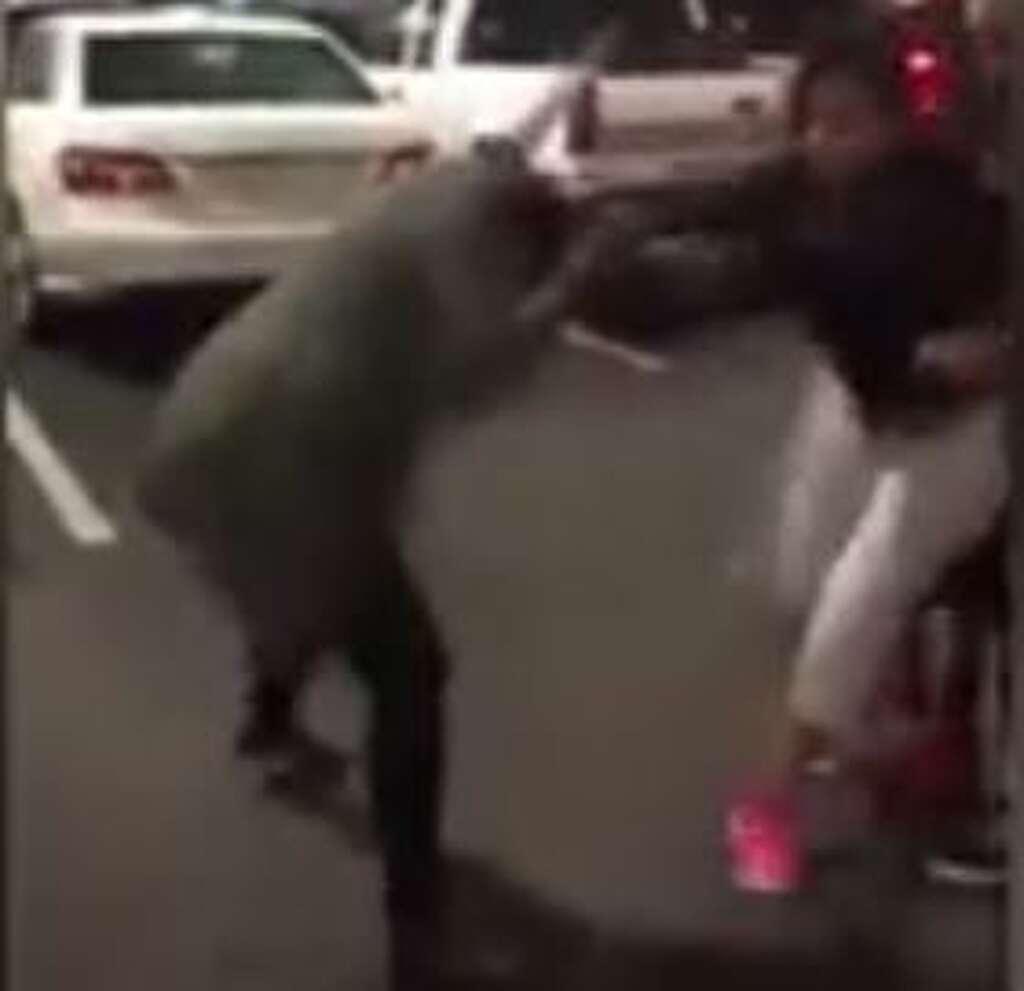 graphic video millions watch s a h e b parking spot brawl caught