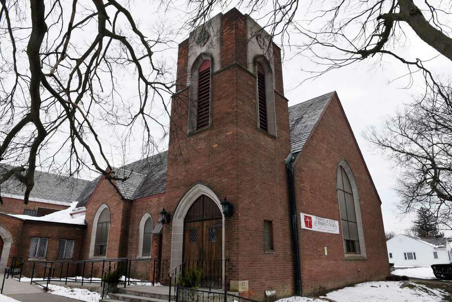 Exterior of the Prince of Peace Lutheran Church on Third Ave. on Monday, Feb. 6, 2017, in the Lansingburgh neighborhood of Troy, N.Y. A Latham company is seeking zoning variances to convert a closed Lutheran church into a five-unit apartment building.(Will Waldron/Times Union) Photo: Will Waldron / 20039623A