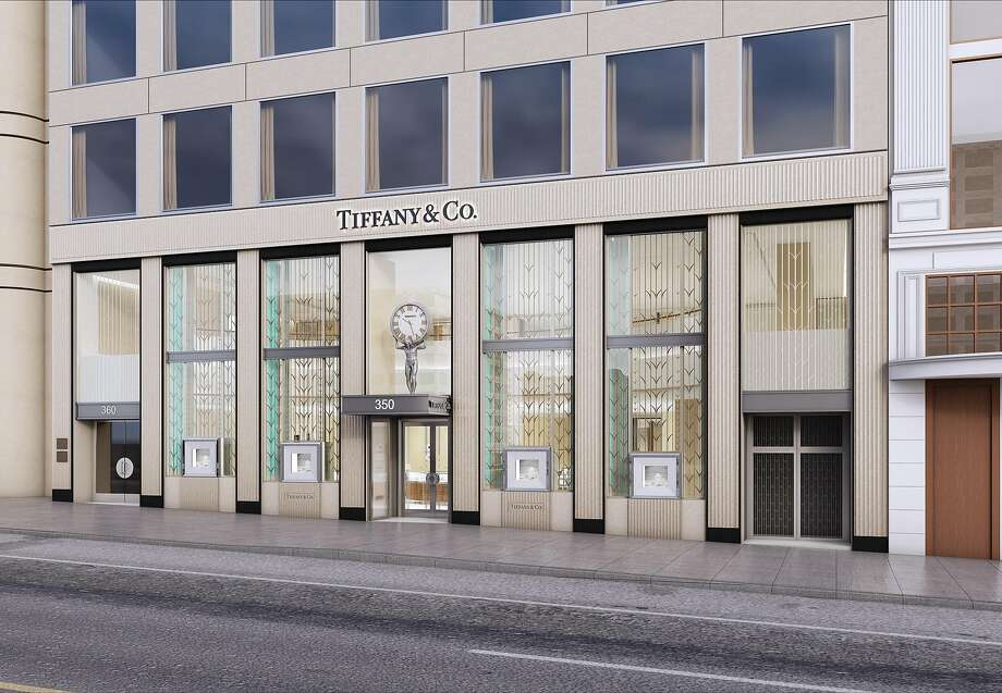 This rendering shows plans for the new facade of Tiffany & Co. on Union Square in San Francisco, to be unveiled Feb. 9, 2017, after a nearly two-year remodeling project. Tiffany officials said the renovations both modernize the store and hark back to the Art Deco touches at Tiffany's flagship in New York. Photo: Tiffany & Co.