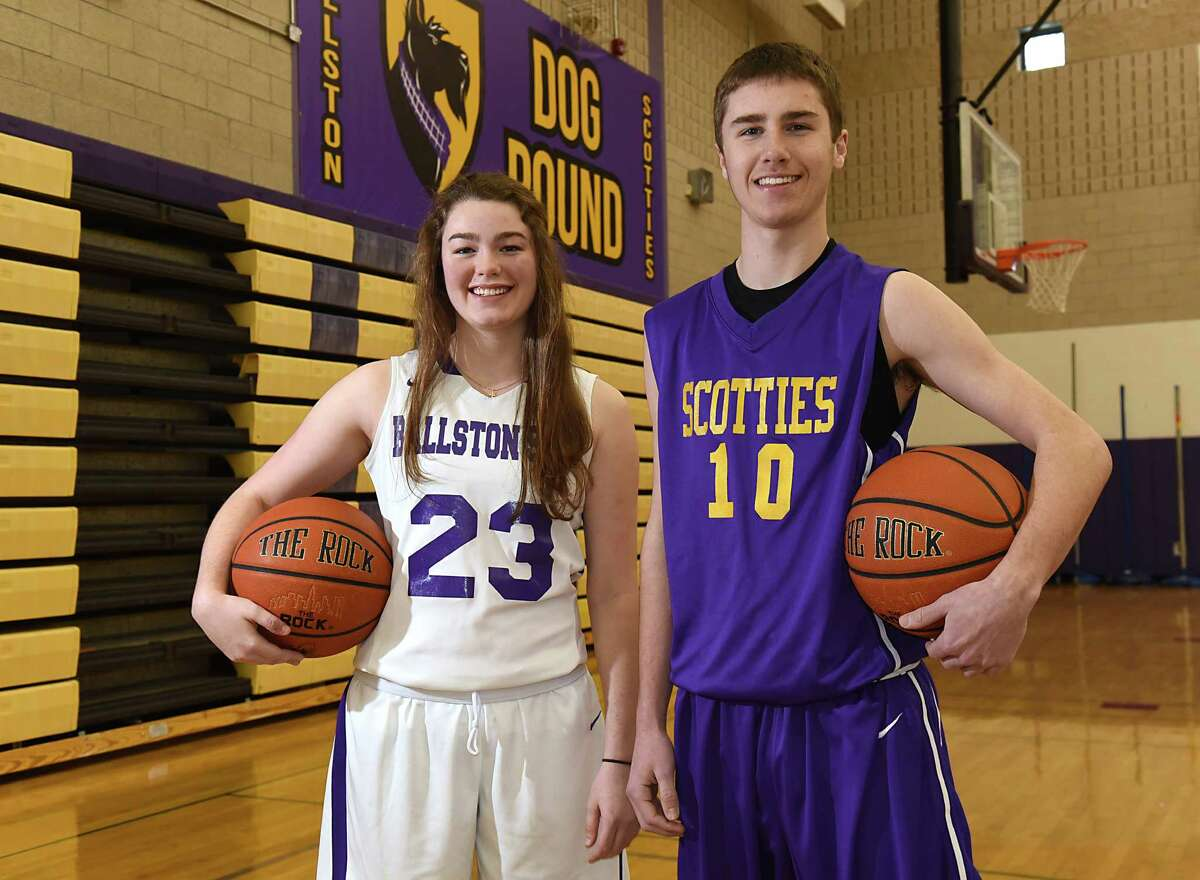 Ballston Spa basketball players Jordan Hipwell, left, and her twin brother Josh stand in the gym at Ballston Spa High School on Wednesday, Jan. 25, 2017 in Ballston Spa, N.Y. (Lori Van Buren / Times Union)
